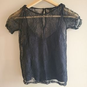 Black summer lace top with tank top.